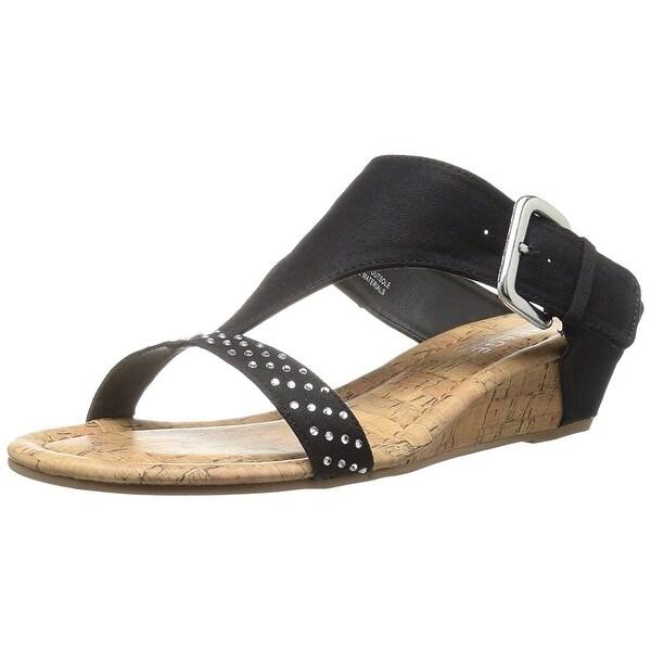 Rampage Women's Sheryl Demi Wedge T-Bar Slip-On Thong Sandal - 7.5