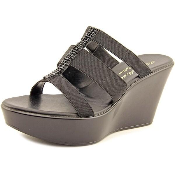 Athena Alexander Pollye Women Open Toe Canvas Black Wedge Sandal