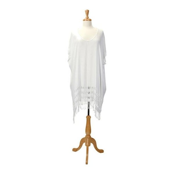 8fe481a870 Shop San Diego Hat Company Women's Cotton Gauze Tunic with Fringe Hem  BST1703 White - us women's one size (wms size one size) - Free Shipping  Today ...