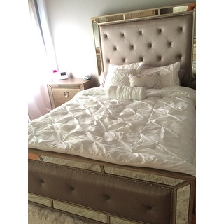 marvellous celine mirrored bedroom set | Celine 5-piece Mirrored and Upholstered Tufted Queen-size ...