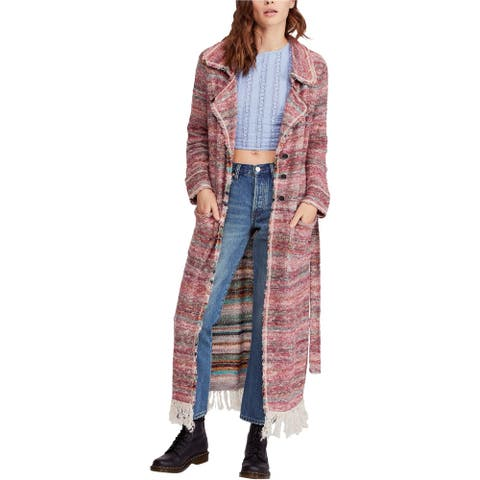 Free People Womens Desert Sunrise Long Topper Cardigan Sweater, Red, Medium