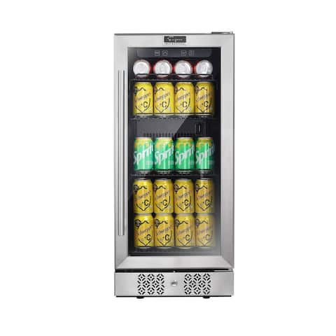 15 in. 84-Can Capacity Stainless Steel Single Zone Cooling Beverage Center Refrigerator