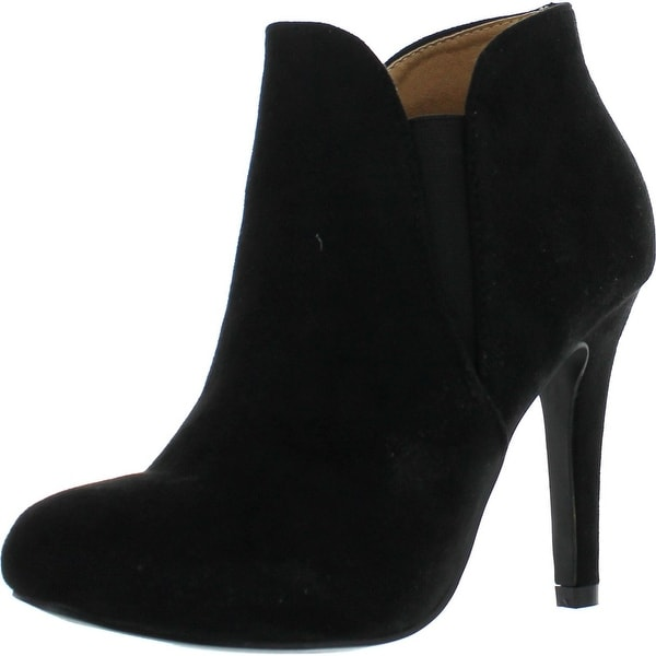 Bella Marie Kendall-10 Women's Soft Round Toe Elastic Cut Out Stiletto Booties - Black