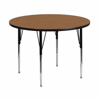 Offex 48'' Round Activity Table with Oak Thermal Fused Laminate Top and Standard Height Adjustable Legs