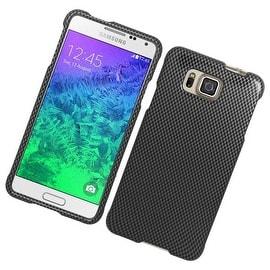 Insten Grey/ Black Carbon Fiber Hard Snap-on Rubberized Matte Case Cover For Samsung Galaxy Alpha