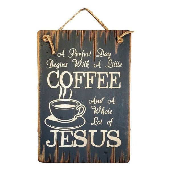 Cowboy Signs Wood Wall Hanging Religious Perfect Day Jesus Black