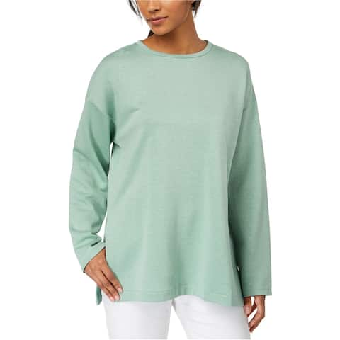 Eileen Fisher Womens Side Slit Sweatshirt, Green, X-Large