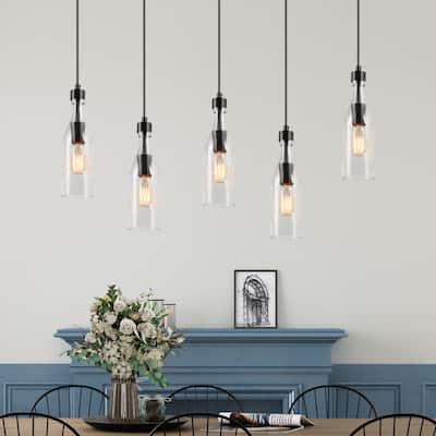 "Farmhouse Wood Frame 5-light Linear Glass Bottle Island Lights - W33"" * E5.5"" * H11.2"""
