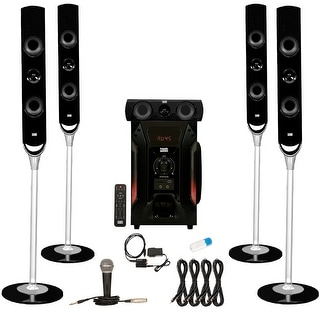 Acoustic Audio AAT1000 Tower 5.1 Speakers with USB Bluetooth Optical Input Mic and 4 Extension Cables