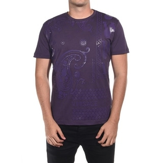 Versace Jean Couture Cotton Paisley Graphic T-Shirt Purple