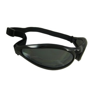Black Motorcycle Riding Goggles Wide Smoke Lenses