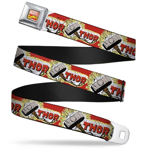 Marvel Comics Marvel Comics Logo Full Color Thor & Hammer Red Yellow White Seatbelt Belt