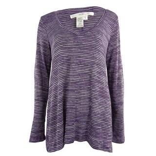 Studio M Women's Adjustable Sleeve Knit Sweater - petunia - s