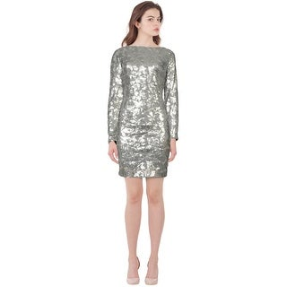 Aidan Mattox Shimmering Leaf Sequin Embellished Long Sleeve Dress - 10