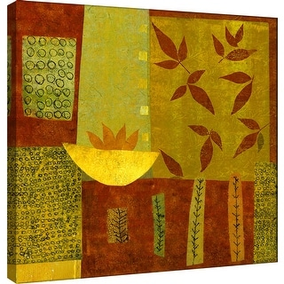 """PTM Images 9-100880  PTM Canvas Collection 12"""" x 12"""" - """"Gold Bowl With Nandina Leaves"""" Giclee Leaves Art Print on Canvas"""