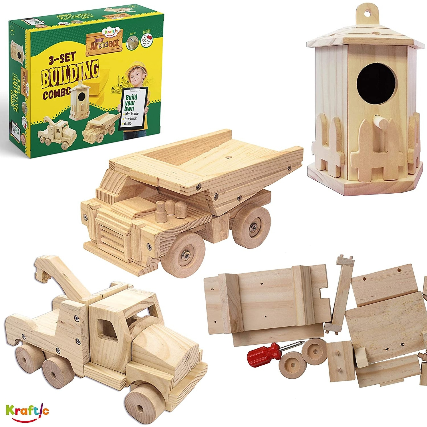 Kraftic Woodworking Building Kit for Kids and Adults Flatbed and Barn with 3 Educational DIY Carpentry Construction Wood Model Kit Toy Projects for Boys and Girls Jeep