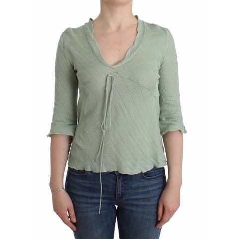 Ermanno Scervino Green Lightweight Knit Sweater Top Women's Blouse