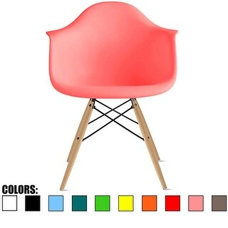 2xhome Pink Eames Dining Room Arm Chair With Natural Wood Eiffel Style Legs