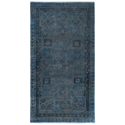 """Shahbanu Rugs Overdyed Blue with Gray Vintage Persian Shiraz with Small Animal Figurines Hand Knotted Worn Wool Rug(3'7"""" x 6'7"""")"""