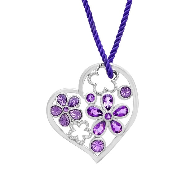 1 1/10 ct Natural Amethyst Heart Pendant in Sterling Silver - Purple