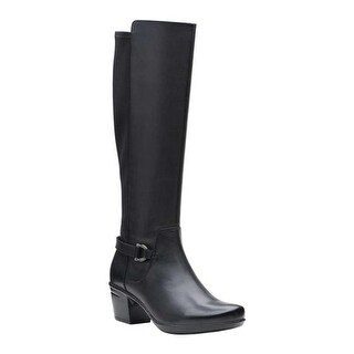 Clarks Women's Emslie March Knee High Boot Black Smooth Leather