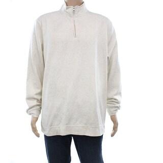 John Ashford NEW Beige Oatmeal Heather Mens XL 1/2 Zip Pullover Sweater
