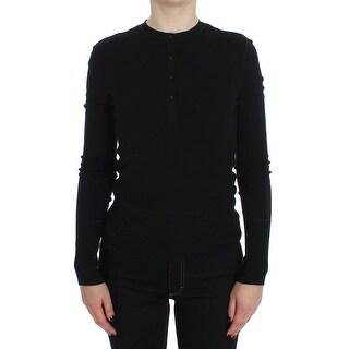 Dolce & Gabbana Dolce & Gabbana Black Long Sleeve Henley Sweater
