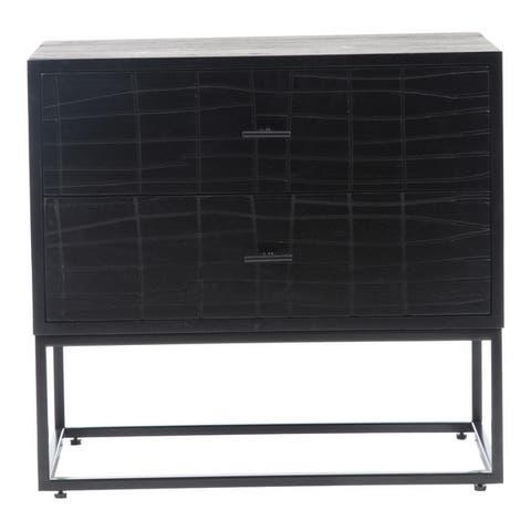 Aurelle Home Alatar Modern 2-drawer Solid Wood and Iron Nightstand