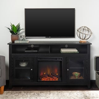 58-inch Black Finish Highboy 2-Door Fireplace TV Stand Console