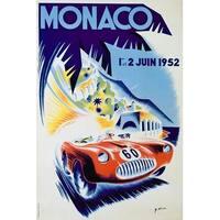 Monaco - (artist: Minne c. 1952) - Vintage Ad (100% Cotton Towel Absorbent)