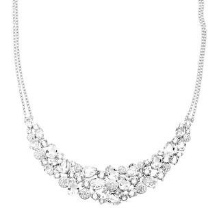 Crystaluxe Garland Bib Necklace with Swarovski Crystals in Sterling Silver - White