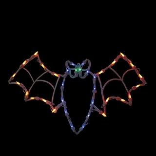 "15"" Lighted Bat Halloween Window Silhouette Decoration - N/A"