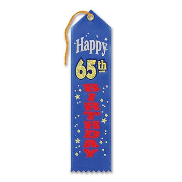"Pack of 6 Blue""Happy 65th Birthday Award"" School Award Ribbon Bookmarks 8"" - N/A"