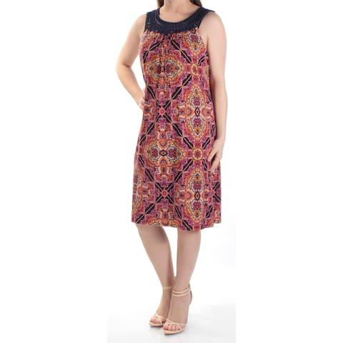 JESSICA HOWARD Womens Orange Damask Sleeveless Jewel Neck Knee Length Shift Dress Size: 10