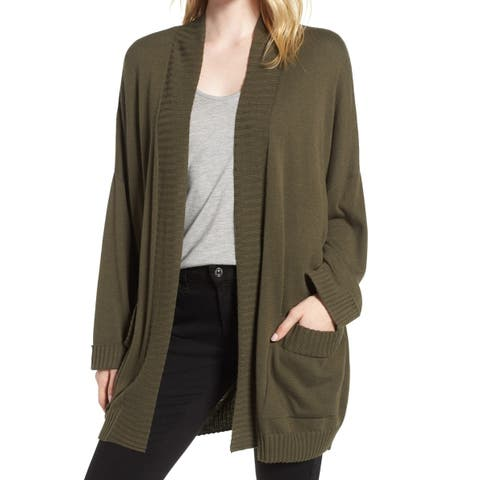 Chelsea28 Women's Green Size Small S Open Front Cardigan Sweater