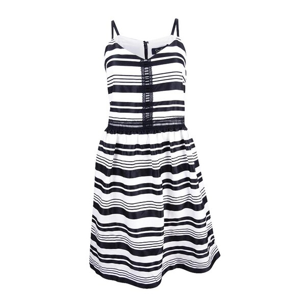 Jessica Simpson Women's Striped Fit & Flare Dress - Black/White