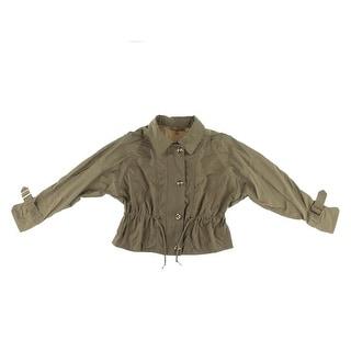 Ellen Tracy Womens Cropped Long Sleeves Anorak Jacket - M
