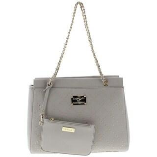 Bebe Womens Betty Shopper Handbag Faux Leather Studded - LARGE