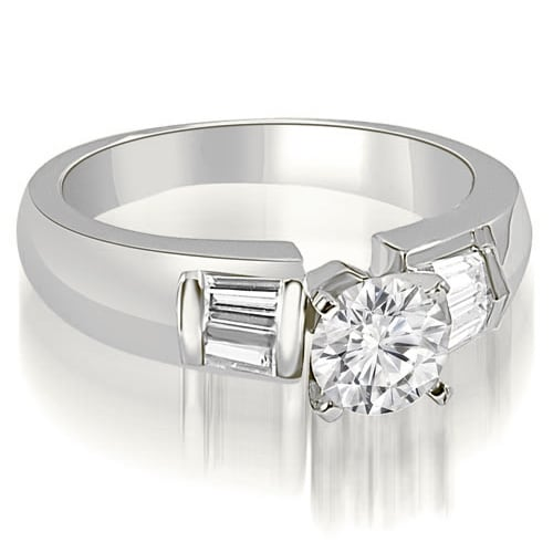 0.90 cttw. 14K White Gold Round and Baguette Cut Diamond Engagement Ring
