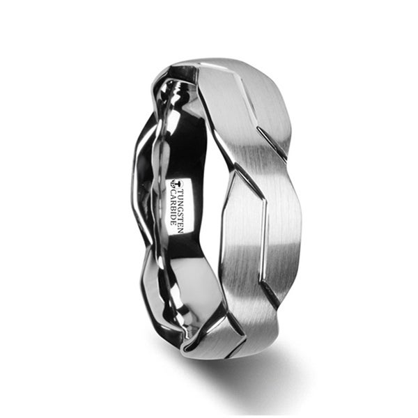 Forever White Tungsten Ring With Brushed Carved Infinity Symbol Design 10mm