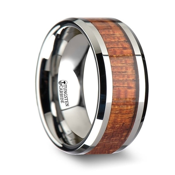 THORSTEN - KHAYA Tungsten Band with Polished Bevels and Exotic Mahogany Hard Wood Inlay - 10mm