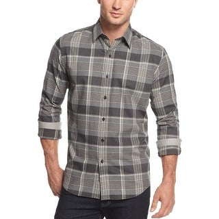 Tasso Elba Big and Tall Plaid Brushed Cotton Shirt Charcoal Combo 4XLT Tall