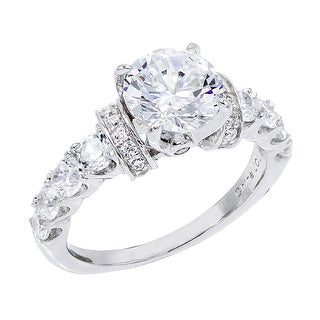 Link to Round-Cut Cubic Zirconia Solitaire Engagement Ring, Sterling Silver Similar Items in Rings