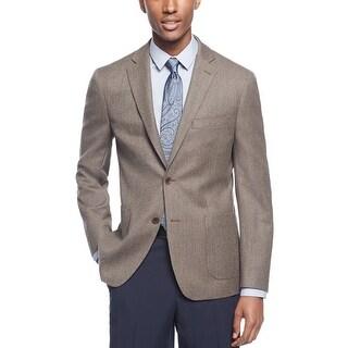 Ryan Seacrest Slim Fit Brown Wool Herringbone Sportcoat Blazer 40 Regular 40R