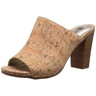 White Mountain Womens Datenight Cork Stacked Heel Mules - 6 medium (b,m)