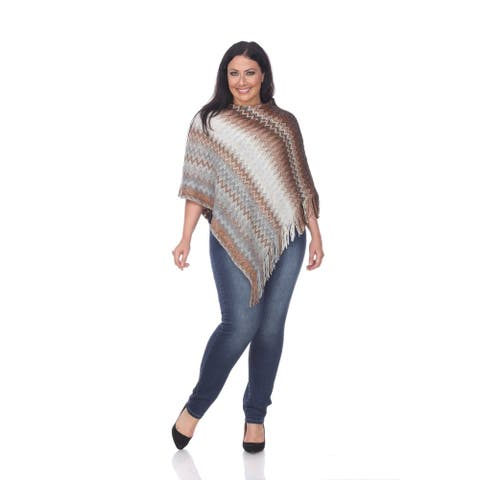 Plus Size Mesila Fringe Poncho - Brown - M