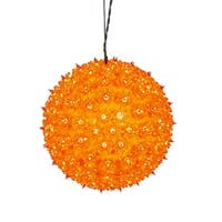 "10"" Orange Lighted Twinkling Starlight Sphere Christmas Decoration"