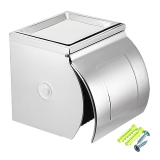 123mmx125mmx120mm Stainless Steel Wall-Mounted Toilet Paper Holder w Cover