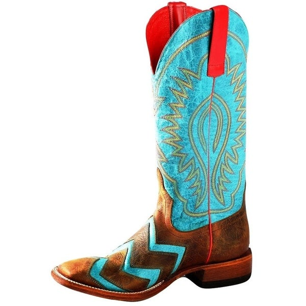 Macie Bean Western Boots Womens Wave On Wave Chevron Toast Turq