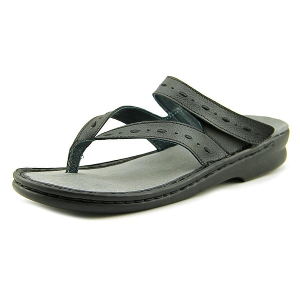 Propet Martina Women W Open Toe Leather Black Thong Sandal